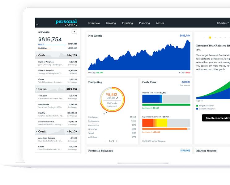 Personal Capital App on a Desktop